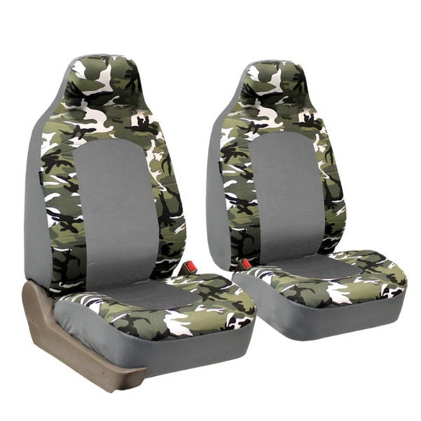 FH Group Light Grey Camouflage Airbag-compatible Front Bucket Seat Covers (Set of 2)
