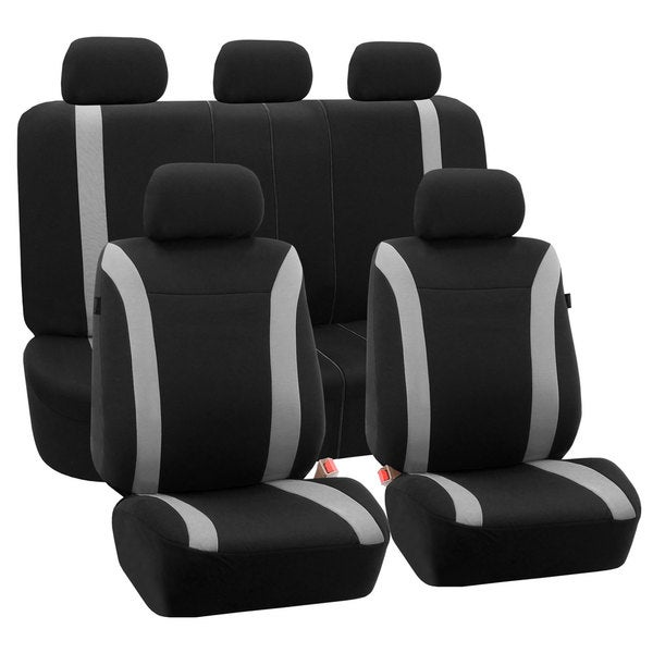 FH Group Grey Black Cosmopolitan Flat Cloth Auto Seat Covers (Full Set)