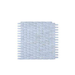 Small White Stone Mesh Mounted Wall Tile (Pack of 11)