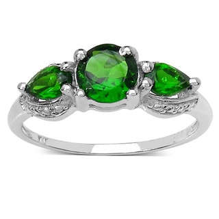 Malaika Sterling Silver Chrome Diopside 3-stone Ring