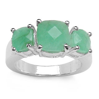 Malaika Sterling Silver Cushion-cut Emerald 3-stone Ring