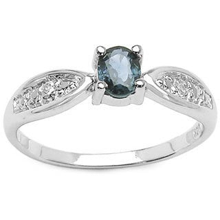 Sterling Silver Oval Blue Sapphire and White Topaz Ring