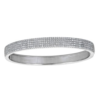 Sterling Silver 5-row Micropave Cubic Zirconia Bangle