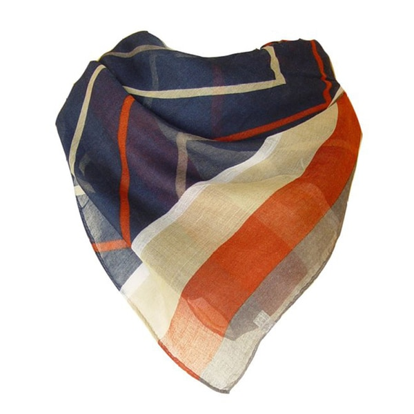 Rust and Beige Chevron Pattern Sheer Scarf