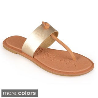 Journee Collection Women's 'Blossom' T-strap Flat Sandals