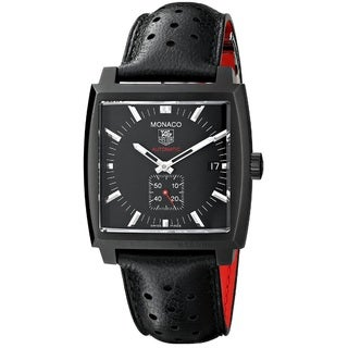 Tag Heuer Men's 'Monaco Calibre 6' Titanium Carbide Coated Stainless Steel and Leather