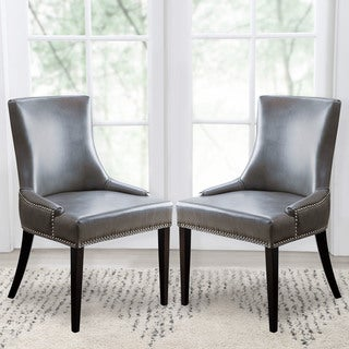 ABBYSON LIVING Newport Grey Leather Nailhead Trim Dining Chair