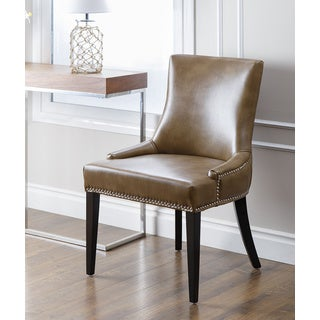 ABBYSON LIVING Newport Brown Leather Nailhead Trim Dining Chair