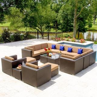 Avery Island 16-Piece Resin Wicker Patio Sectional Set