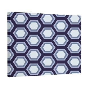 E by Design Navy Blue/ Teal/ Rust/ Taupe Geometric Print Wall Art (12 x 12)