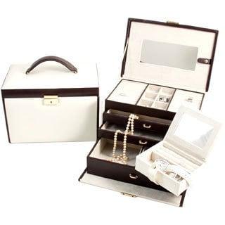Sydney Ivory/ Brown 4-level Jewelry Box