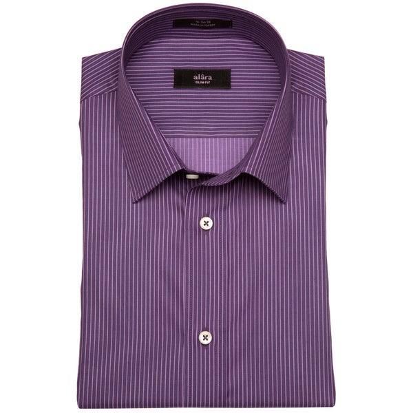 Alara Men's Plum Tonal Satin Striped Dress Shirt