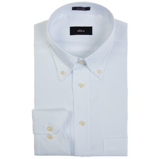 Alara Men's White Pinpoint Oxford Button-down Dress Shirt