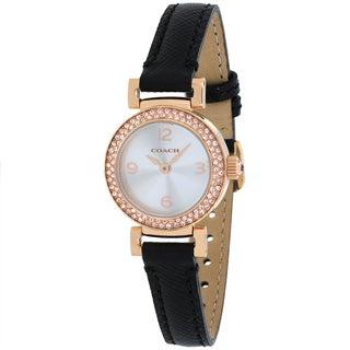 Coach Women's 14501971 Madison Round Black Leather Strap Watch