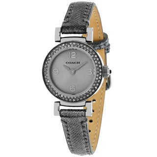 Coach Women's 14501969 Madison Round Grey Leather Strap Watch