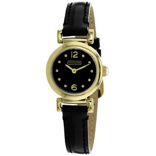 Coach Women's 14501693 Madison Round Black Leather Strap Watch