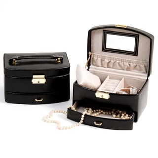 Ariana Two-level Black Leather Jewelry Case