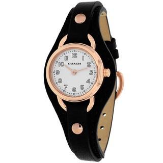 Coach Women's 14502030 Dree Round Black Leather Strap Watch