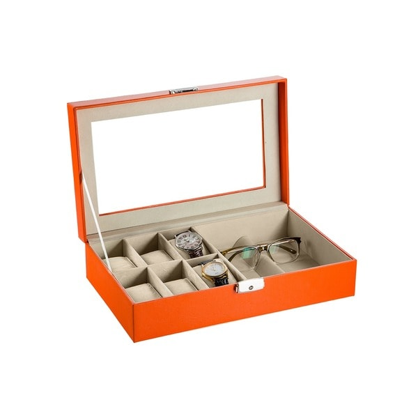Orange Leather Eyeglasses and Watch Box