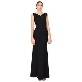 ML Monique Lhuillier Women's Black Crepe Beaded Lace Evening Dress