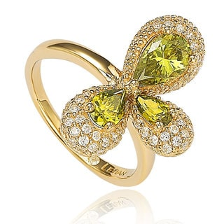 Suzy Levian Goldplated Sterling Silver Triple Green Pear Cubic Zirconia Abstract Flower Ring