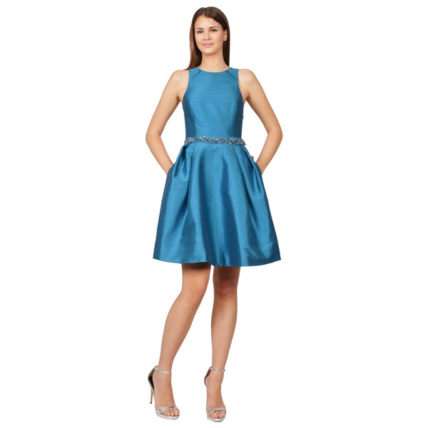 ML Monique Lhuillier Women's Blue Faille X-Back Jeweled Neck Dress