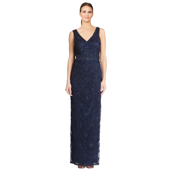 Sue Wong Women's Blue Soutache Embroidered Beaded Cowl Back Gown