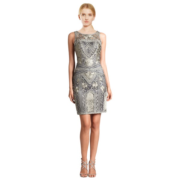 Sue Wong Women's Platinum Floral Embroidered Beaded Dress