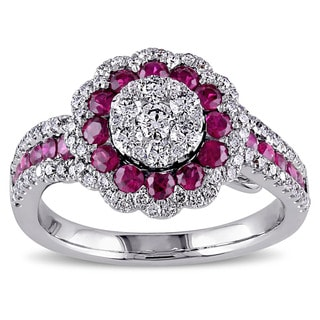 Miadora 18k White Gold Ruby and 3/4ct TDW Diamond Halo Ring (G-H, SI1-SI2)