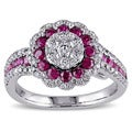 Miadora Signature Collection 18k White Gold Ruby and 3/4ct TDW Diamond Halo Ring (G-H, SI1-SI2)