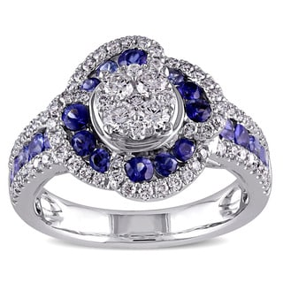 Miadora Signature Collection 18k White Gold Blue Sapphire 5/8ct TDW Diamond Halo Ring (G-H, SI1-SI2)