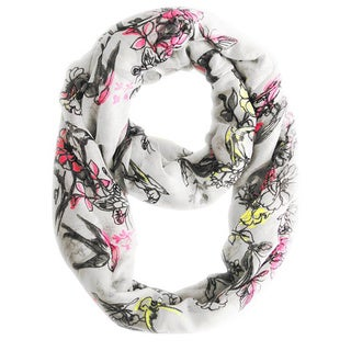 Peach Couture White Cherry Blossom Print Loop Scarf