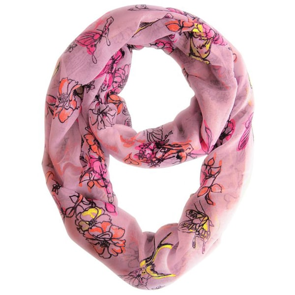 Peach Couture Pink Cherry Blossom Print Loop Scarf