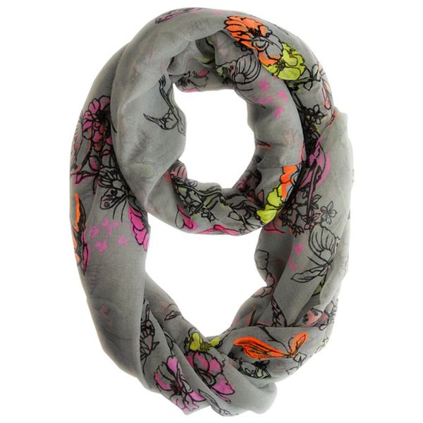 Peach Couture Grey and Pastel Cherry Blossom Print Loop Scarf