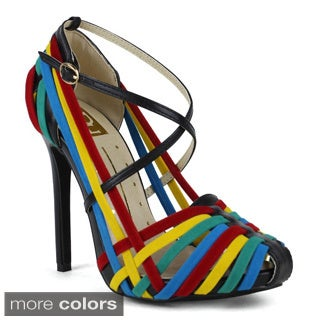Fahrenheit Women's Roxanne-01 Colorful Strappy Pumps