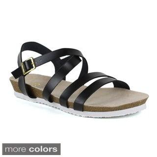 Fahrenheit Women's Betty-05 Strappy Flat Sandals