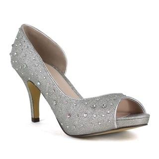 Celeste Women's 'Sanyo-02Z' High Kitten Heel Shining Diamond Peep-toe Pump