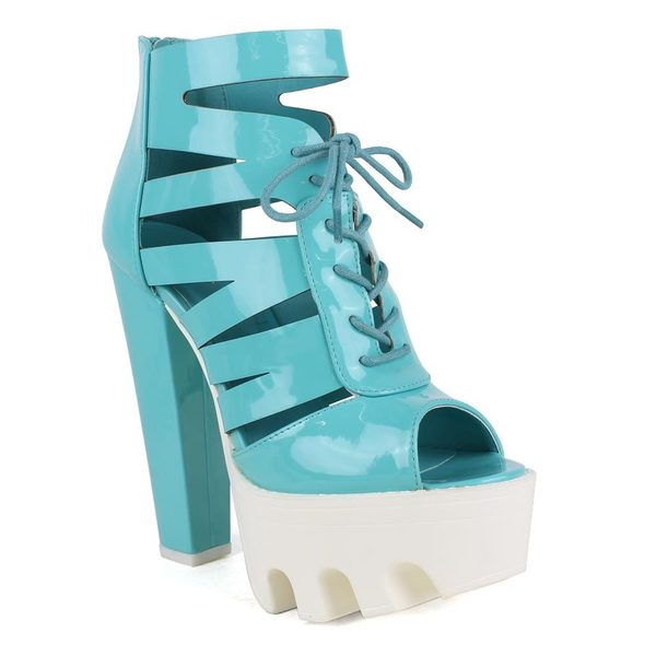 Fahrenheit Women's 'Laura-07' Blue Lace-up Lug Sole Peep-toe High Heel