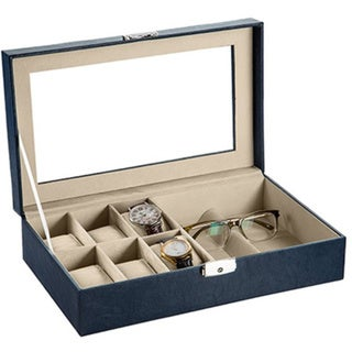 Dark Blue Leather Watch/ Sunglasses Storage Box