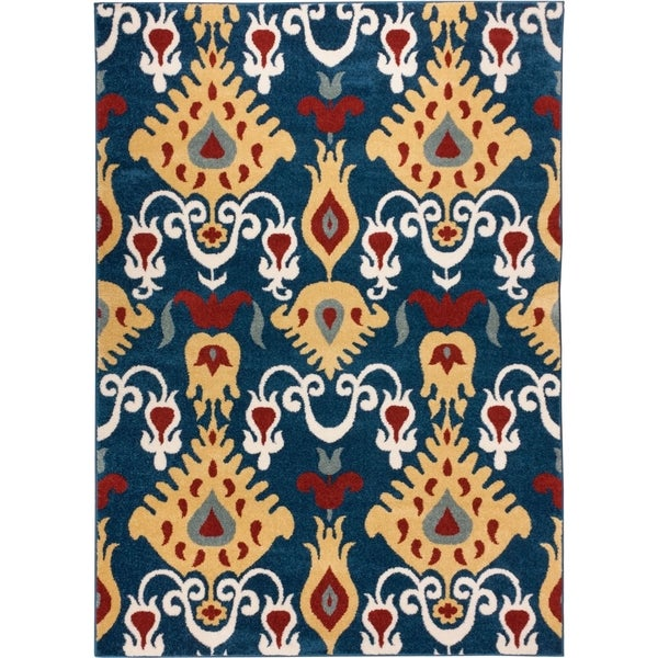Well Woven Bright Trendy Twist Pop Ikat Modern Blue Air Twisted Polypropylene Rug (5'3 x 7'3)