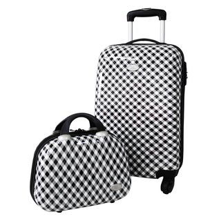 Jacki Design 2-piece Retro Plaid Hardside Carry-on Luggage Set