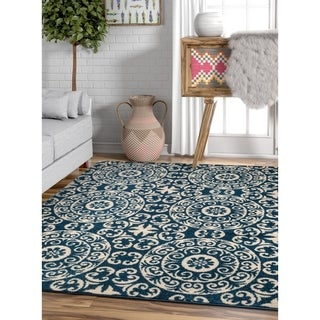 Well-woven Bright Trendy Twist Mediterranean Tile Scrolls Navy Blue Geometric Air Twisted Polypropylene Rug (7'10 x 10'6)