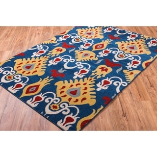 Well Woven Bright Trendy Twist Pop Ikat Modern Blue Air Twisted Polypropylene Rug (7'10 x 10'6)