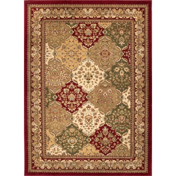 Well Woven Vanguard Panel Oriental Red Polypropylene Rug (5'3 x 7'3)