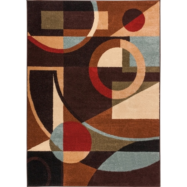 Well Woven Bright Trendy Twist Art Deco Shapes Black Brown Air Twisted Polypropylene Rug (5'3 x 7'3)