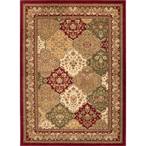 Well Woven Vanguard Panel Oriental Red Traditional Polypropylene Rug (7'10 x 10'6 )
