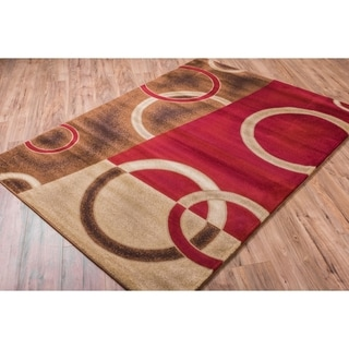 Well Woven Sublime Lines Shapes Waves Modern Red Polypropylene Rug (7'10 x 10'6 )