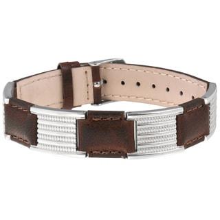 Sabona Brown Leather Dress Stainless Magnetic Bracelet