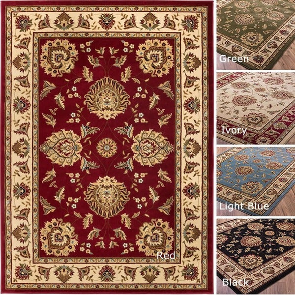 Well Woven Vanguard Oriental Border Red Black Light Blue Traditional Polypropylene Rug (5'3 x 7'3)