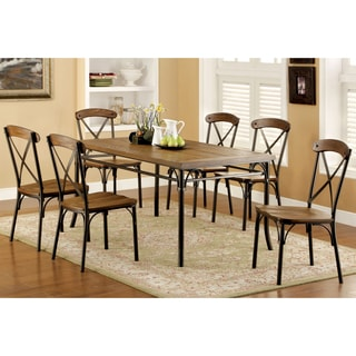 Furniture of America Merrits Industrial Style 7-piece Dining Set